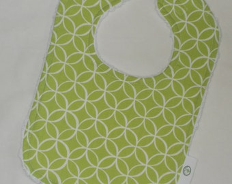 Lime Green Tile Pile Fabric and Chenille Bib