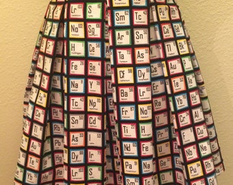 Periodic Table Printed Adult High Waisted Skater Skirts