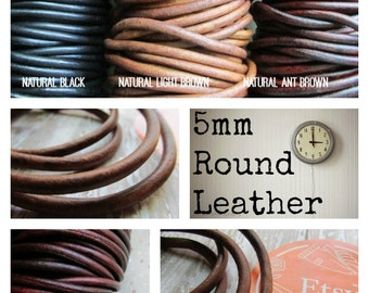5mm Natural Dye Leather Cord, 5mm leather, 5mm Round Leather Cord, Distressed Leather, leather, leather cord, brown leather