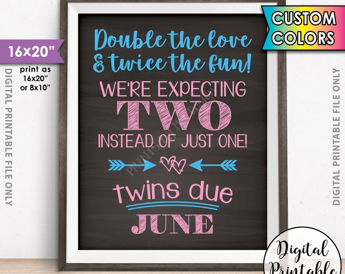 "Twins Announcement, Pregnant with Twins Sign, Double the Love & Twice the Fun, Custom Colors, 8x10/16x20"" Chalkboard Style Printable Sign"