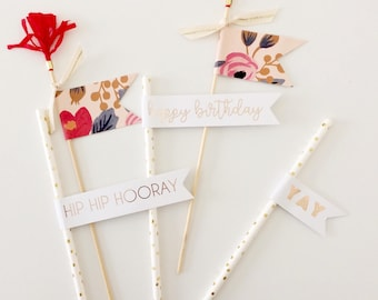 Gold Floral Birthday Cake Toppers