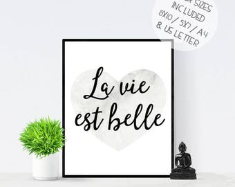 La vie est belle, Life is Beautiful, French quote print, PRINTABLE wall art, red watercolor heart