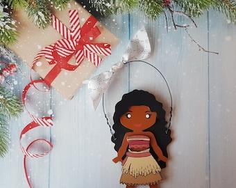Disney Christmas Ornament, Moana Princess, Elsa, Anna, Cinderella, Rapunzel, Jasmine, Belle, Aurora, Snow White, Tiana, Ariel, Merida, Mulan