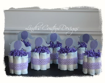 Elephant Diaper Cake Table Centerpieces, Lavender Gray Girl Elephant Baby Shower Table Centerpiece, Baby Shower Party Decor, Cardstock