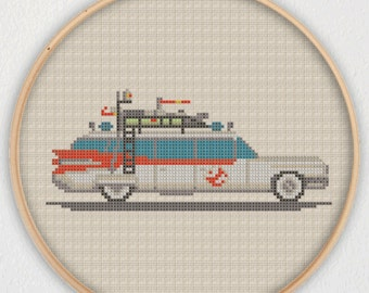 Ecto-1 Ghostbusters Cross Stitch Pattern - Instant Download PDF