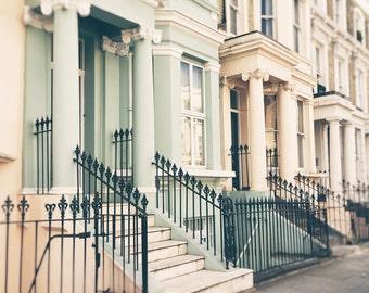 London Print, Notting Hill, Houses, Architecture, Photography, London Wall Art, London Decor, sage green, pastel, cream, neutral decor