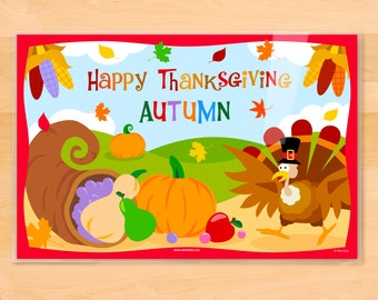 Olive Kids Personalized Thanksgiving Placemat, Kids Placemat, Turkey Placemat, Holiday Placemat, Laminated Placemat