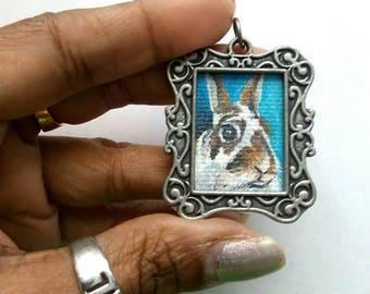 Pendant Bunny Rabbit Pet Portrait Painting, Ready to Ship