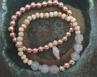 Schön Duo — rose gold-filled pine wood copper smoky white faceted quartz feather stack couple summer elastic stretch nashville rochester