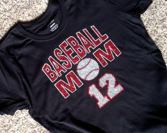 """Baseball Mom Shirt with """"BASEBALL MOM"""" in Sparkling Silver and Red Glitter with Your Players Number"""