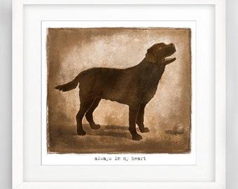 Always in My Heart, Labrador art print, Labrador Retriever art, Dog Remembrance Art, Dog Lovers Art Print, Dog Gift art, Labrador drawing