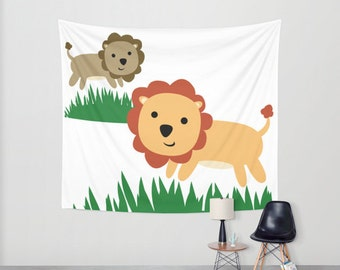 Nursery Hanging Tapestry - Wall Tapestry - 2 Lions - Large Wall Hanging - Original Nursery Art - Childs Room Talestry Decor - Made to Order
