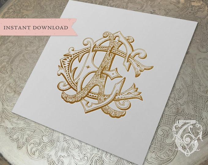 3 Initial Vintage Monogram ECA CEA AEC Three Letter Wedding Monogram Digital Download E C A