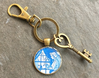 Nancy Drew  Keychain Bronze with Ring Swivel Clasp and Key Vintage Book End Papers Style A