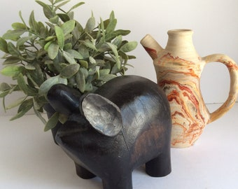 Vintage Carved Wooden Pig