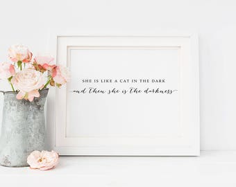 PRINTABLE Art Stevie Nicks Rhiannon CAT in the Dark Print, 16x20 8x10 Calligraphy Lyrics Fleetwood Mac Poster Decor, Boho Wall Art Download
