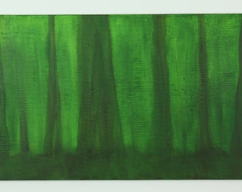 18 x 36 inch abstract acrylic painting, green, yellow, black