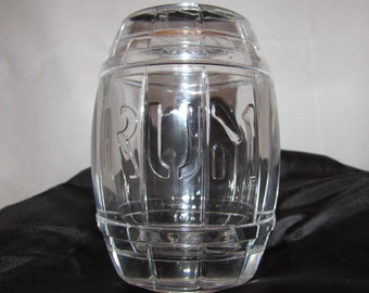 Vintage Heavy Lead Crystal Glass Rum Barrel Container Holder by Nachtmann Bleikristall, West Germany, 40s, barware