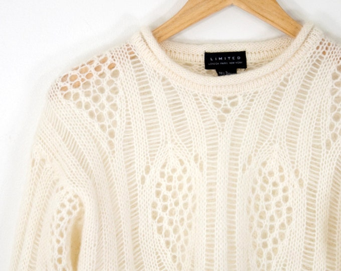 90s Vintage Mohair Cropped Sweater with Rolled Edges (S)