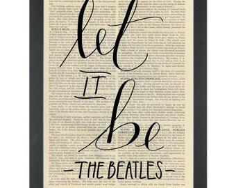 Beatles lyrics Let It Be Dictionary Art Print