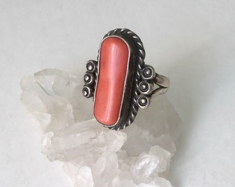 vintage sterling and coral southwestern ring, size 7.5, signed