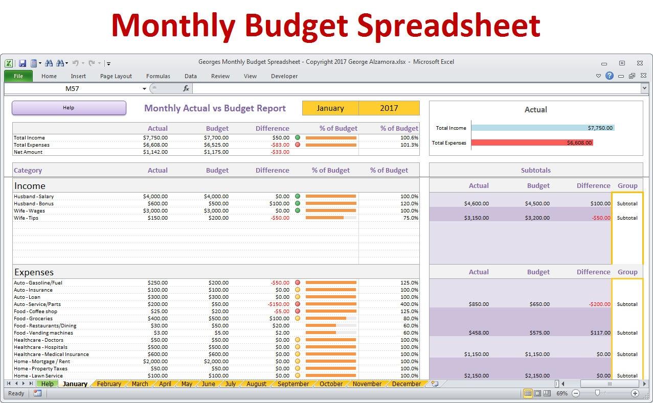 Free home budget spreadsheet australia