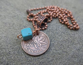 Penny Necklace, Coin Jewelry, Canadian Necklace, USA Necklace, Birthday Necklace, Personalized Jewelry, Upcycled Jewelry, Copper Necklace,