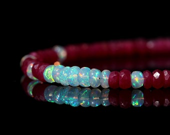 Genuine Ruby and Opal Bracelet, Natural AAA Ethiopian Opal & Red Ruby Jewelry, Sterling Silver, July October Birthstone, Mother's Day Gift