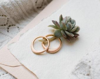 Handmade Wedding Rings Set. 18k red gold wedding bands.