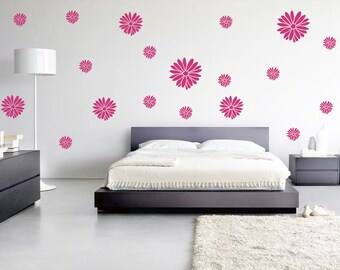 60 Dahlia Wall Decals, Flower Wall Art, Dahlia Bedroom Decor, Flower Decals, Removable wallpaper, Dahlia wall stickers, Girly Wall Decal