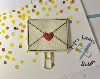 Love letter heart envelope planner clip paper clop bookmark