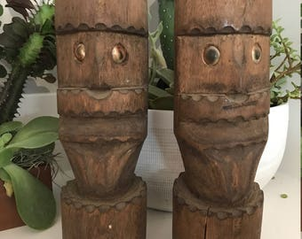 Vintage wood tiki men, set of 2