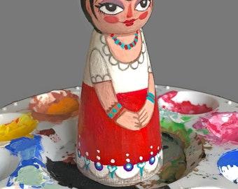 Peints à la main en bois «Frida Kahlo»
