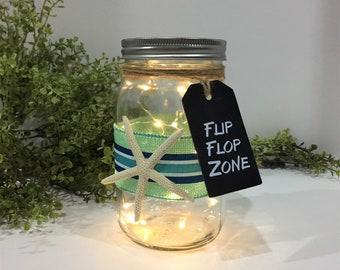 Beach Theme Mason Jar Light / Flip Flop Zone / Battery Operated String Lights / Beach House Decor / Starfish Decor / Beach Party Decoration