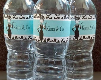 Breakfast at Tiffany's Inspired Water Bottle Labels
