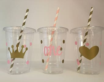 Pink and gold party cups, first party cups, Princess Party Cups, One, Princess Birthday Party Cups, First Birthday Party Cups