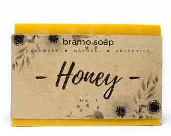 Honey Soap - All Natural Soap, Handmade Soap, Unscented Soap, Vegan Soap, Homemade Soap, Organic Soap, Nutritious Soap, Dry Skin Soap