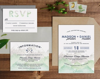 Rustic Mountain Watercolor Wedding Invitation Set // Digital or Printed //