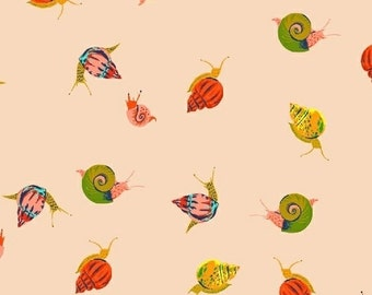 "End of Bolt, Snails in Pale Peach Cotton Lawn Fabric from the Sleeping Porch Collection by Heather Ross for Windham Fabrics 16""x44"""
