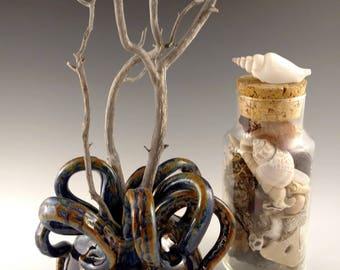 Short vase. Blue and brown tentacle topped Ikebana vase. Dripping, wet, octopus creature vase, Halloween decor, elegant monster