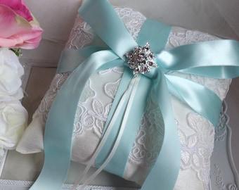 Wedding Ring Pillow, Ring Bearer Pillow, Lace Ring Pillow, Aqua Ring Pillow, Something Blue Pillow, Ivory Silk Ring Pillow