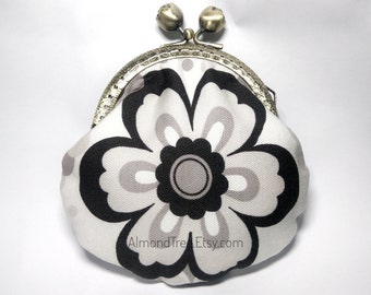 Flora, black n white handmade clasp purse, kisslock snap metal frame purse id180416 portefeuille, portmonnaie, change pouch