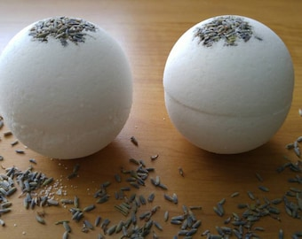 Organic Lavender and Shea butter bath bomb. Stress relief. Moisturizing bath bomb.