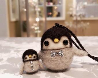 Set of 2 Needle Felted Penguins, Felted Baby Penguin, Miniature Penguin