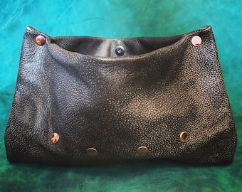 Gunmetal Street Chic Leather Clutch / Leather Purse / Leather Handbag