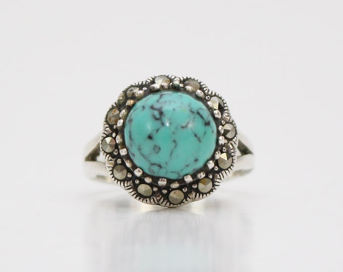 Vintage 1970s Turquoise and Hematite Silver Boho Ring - Size 8