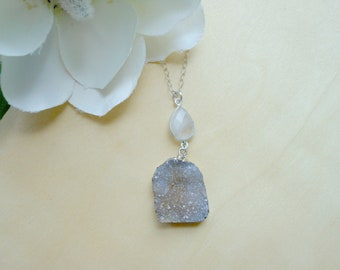 Crystal Druzy Pendant Necklace, Moonstone Necklace, One of a Kind, Boho Style, Statement Necklace, Gift For Her, Drusy