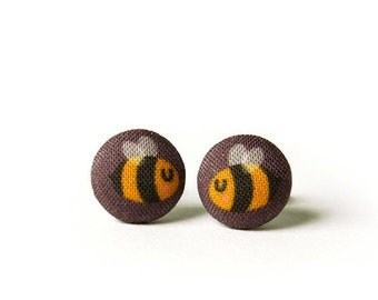 Bee Stud Earrings, Fabric Buttons, Small Ear Studs, Earrings for Children, Gift for Her