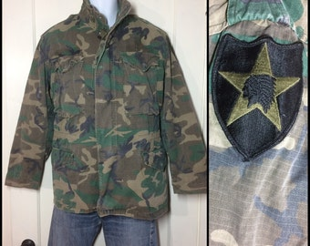 1980's Military Rip Stop M65 Camo Field Jacket size Small Faded worn soft cotton Indian Head Star patch 2nd Infantry camouflage