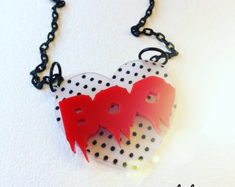 SALE!!! BOO HEART polka dots n red laser cut acrylic necklace